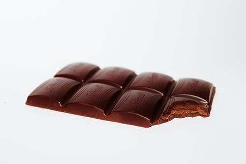 Chocolate bar with a bite out of it