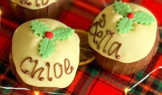 Two personalised chocolate Christmas puddings