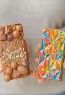 a front and a back view of an lgbtq+ pride-edition loaded choco bloc