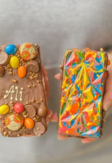 a front and a back view of an lgbtq+ pride-edition reese's loaded choco bloc