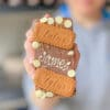 a personalised message on an lgbtq+ pride-edition biscoff loaded choco bloc