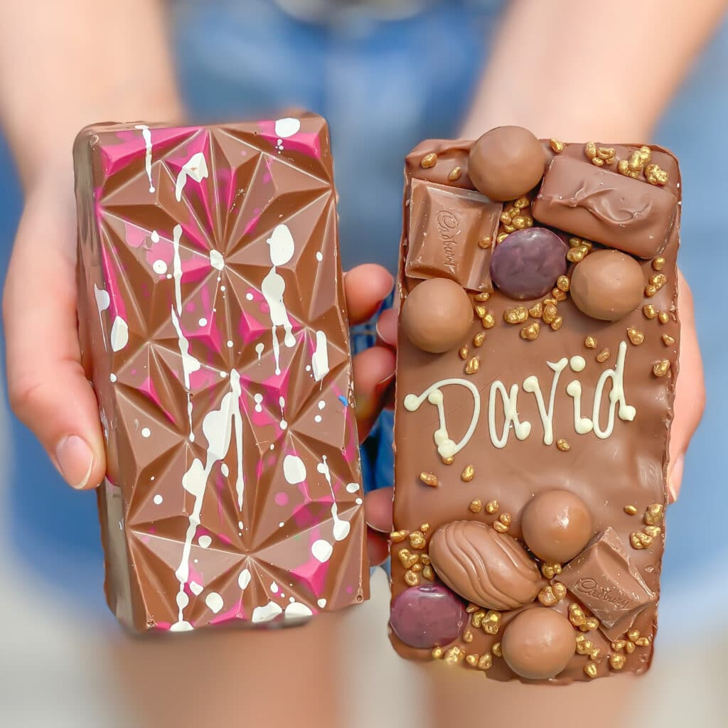 the front and back views of original loaded choco blocs