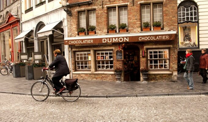 a traditional belgian chocolate shop in bruges