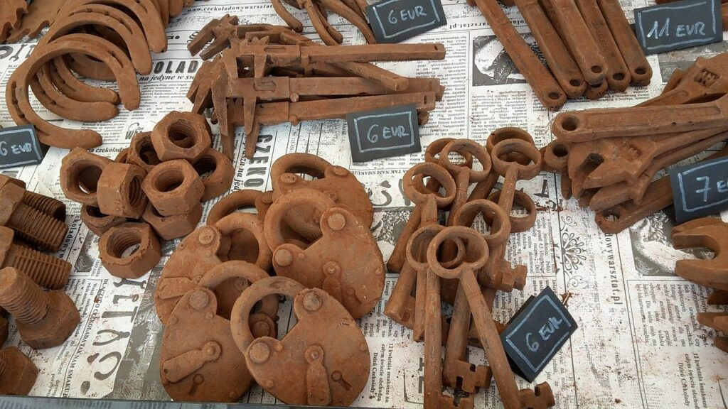 a selection of novelty belgian chocolate locks, keys and tools